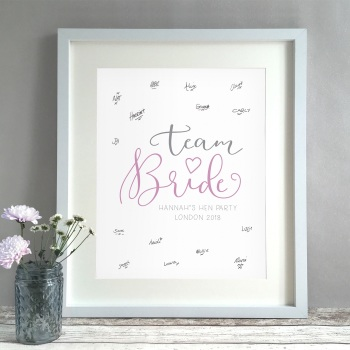 Team Bride Hen Party Personalised Guest Book Print Alternative