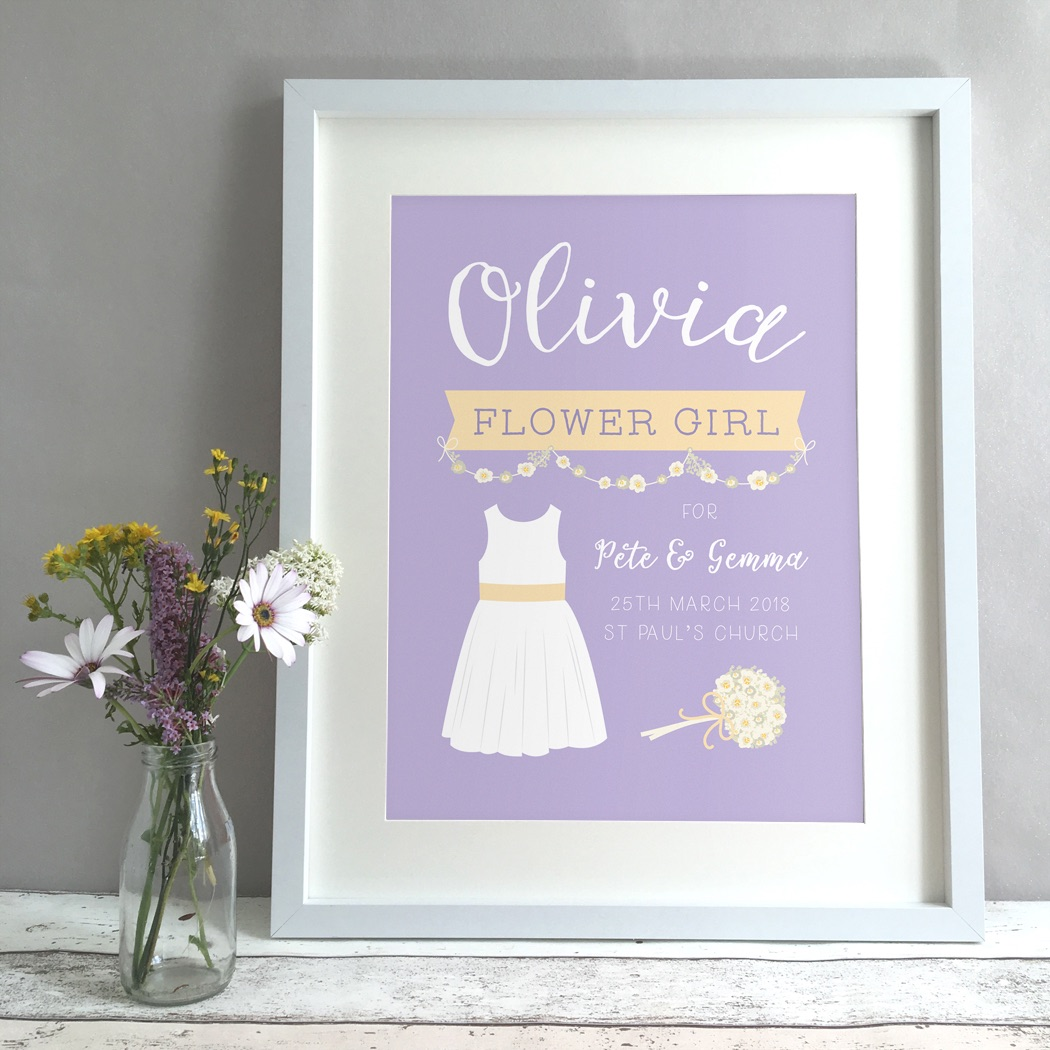 Flower Girl Wedding Gift Personalised Print