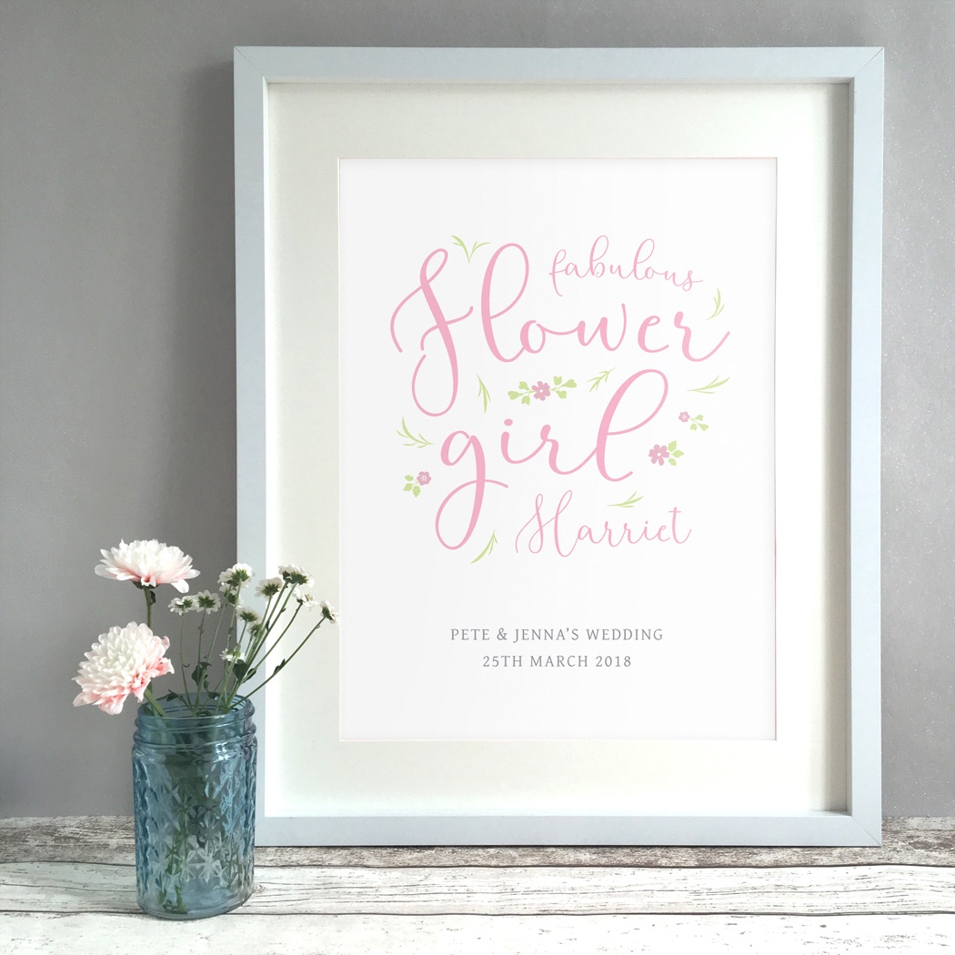 Fabulous Flower Girl Gift Personalised Print