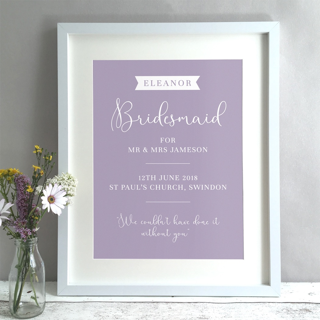 Bridesmaid Wedding Gift Personalised Print