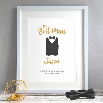 Best Man Waistcoat Gift Personalised Print