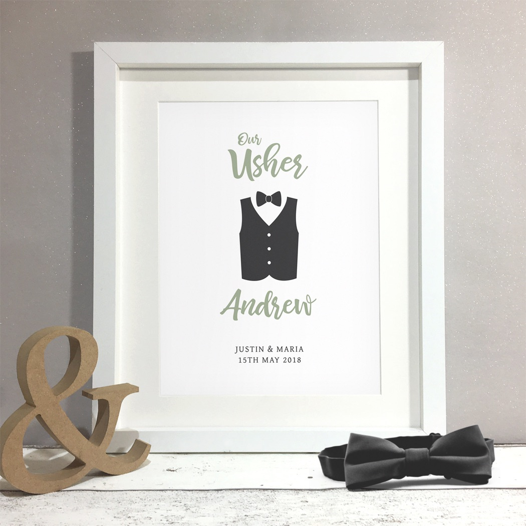 Usher Groomsman Wedding Gift Personalised Print