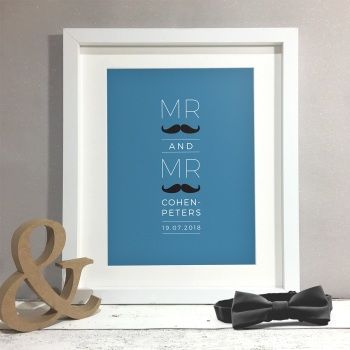 Moustache Personalised Gay Wedding Civil Partnership Gift Print