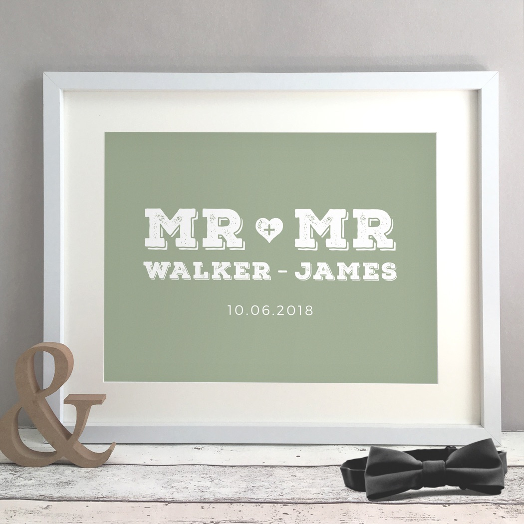 Mr & Mr Personalised Gay Wedding Civil Partnership Gift Print