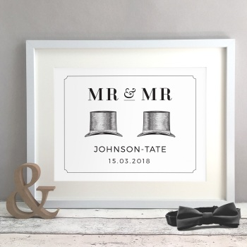 Top Hat Personalised Gay Wedding Civil Partnership Gift Print