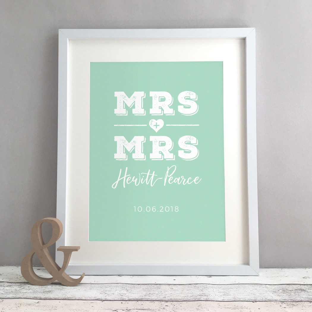Mrs & Mrs Personalised Wedding Civil Partnership Gift Print