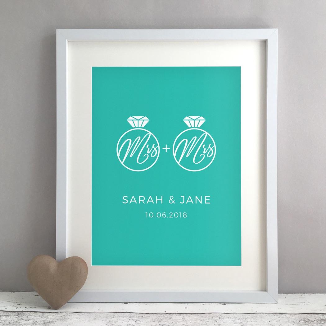 Mrs Rings Personalised Same Sex Wedding Civil Partnership Gift Print