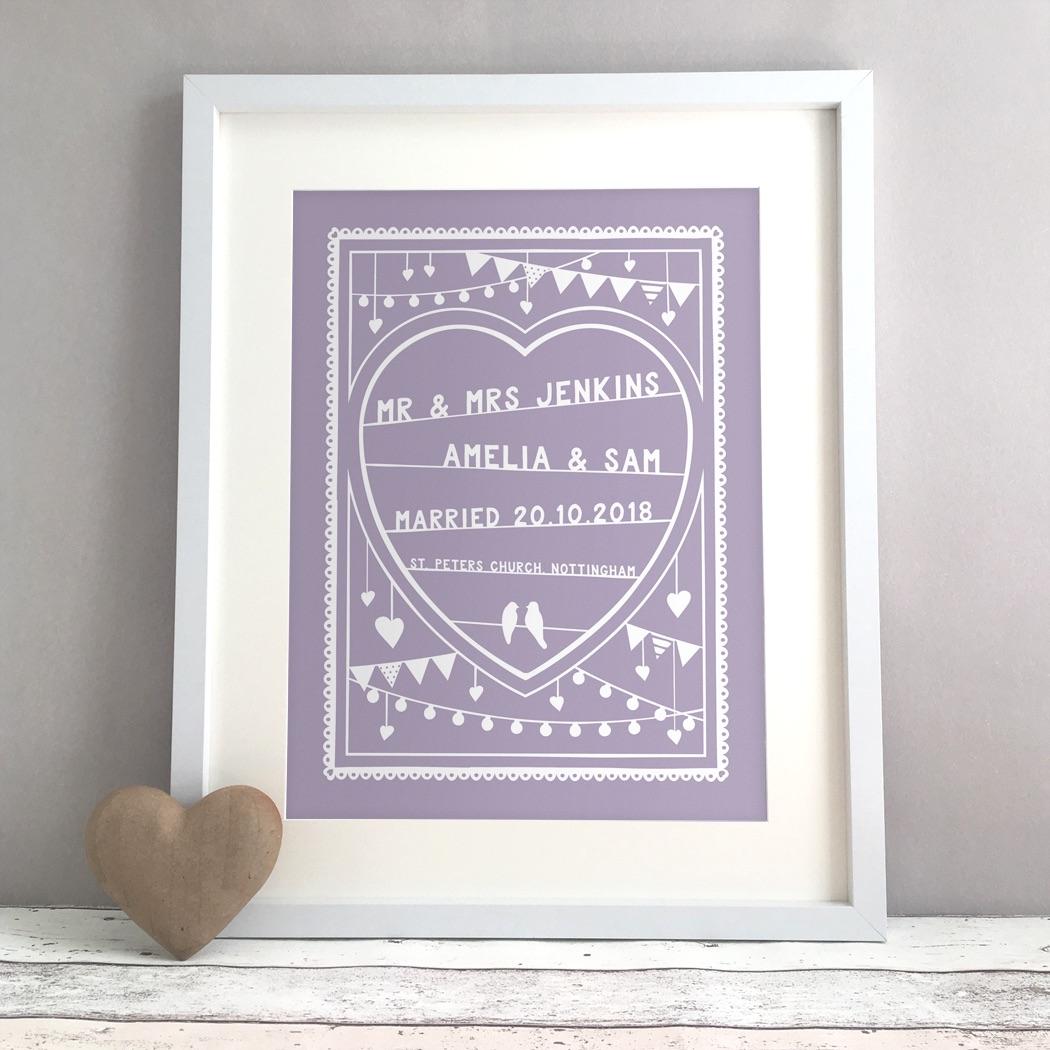 Papercut Style Personalised Wedding Gift Print