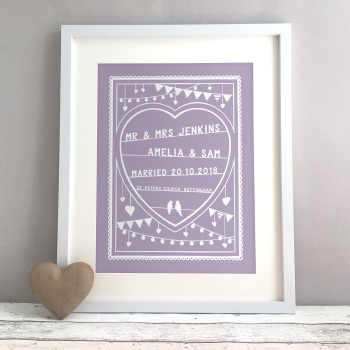 Papercut Style Personalised Wedding Gift Print