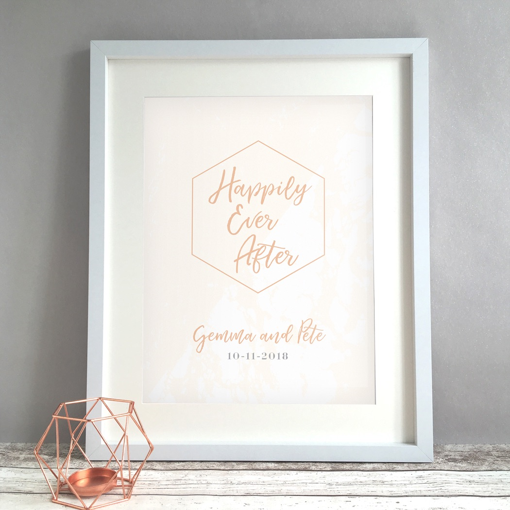 Geometric Marble Personalised Wedding Gift Print