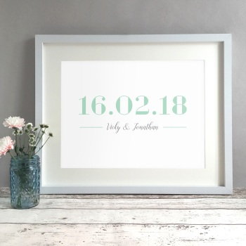 Elegant Date Personalised Wedding Gift Print