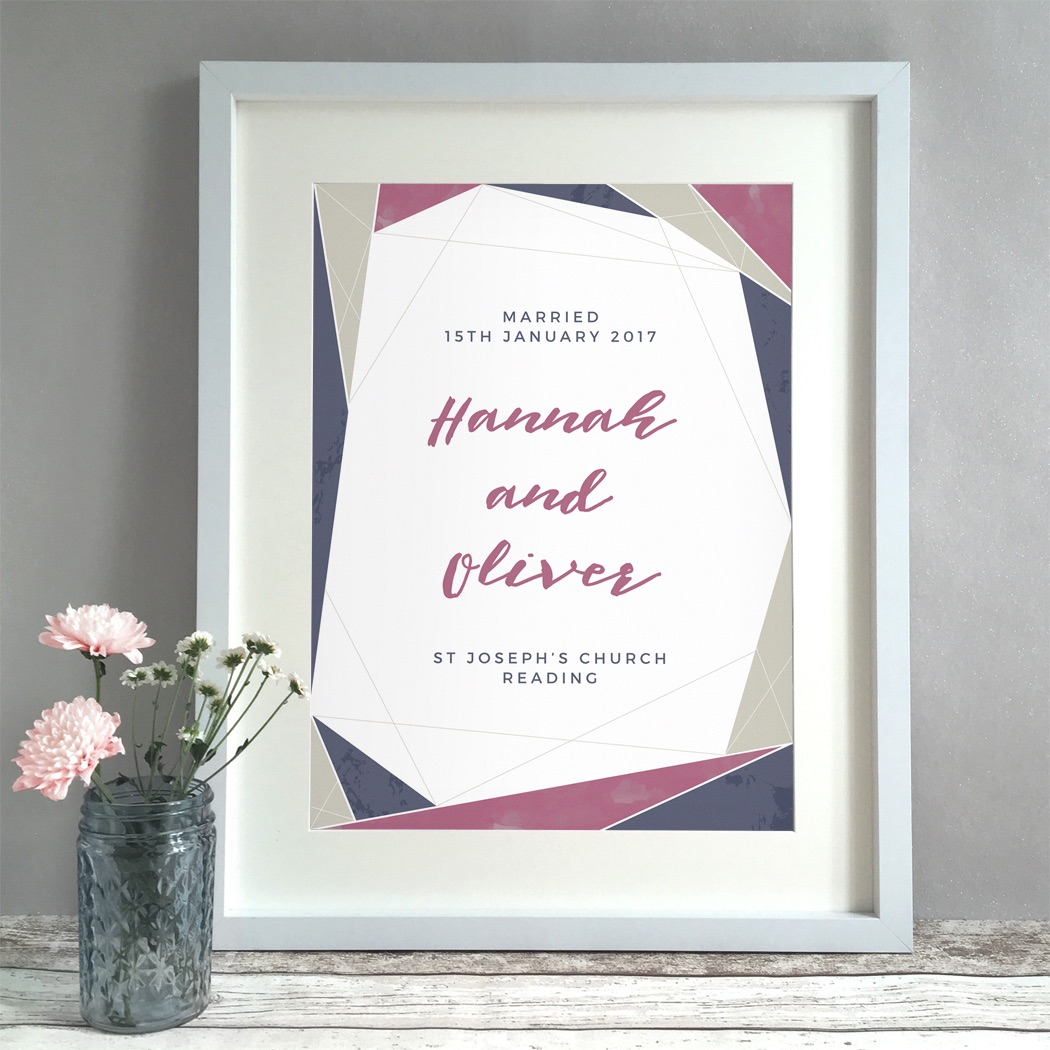 Geometric Textures Personalised Wedding Gift Print