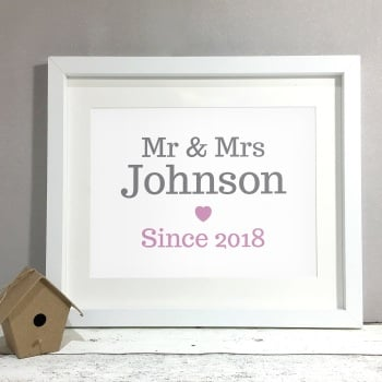 Classic Mr & Mrs Personalised Wedding Gift Print