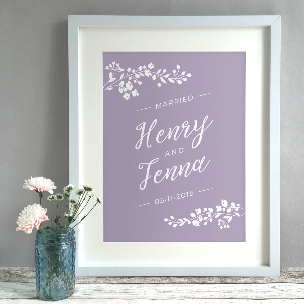 Blossom Personalised Wedding Gift Print