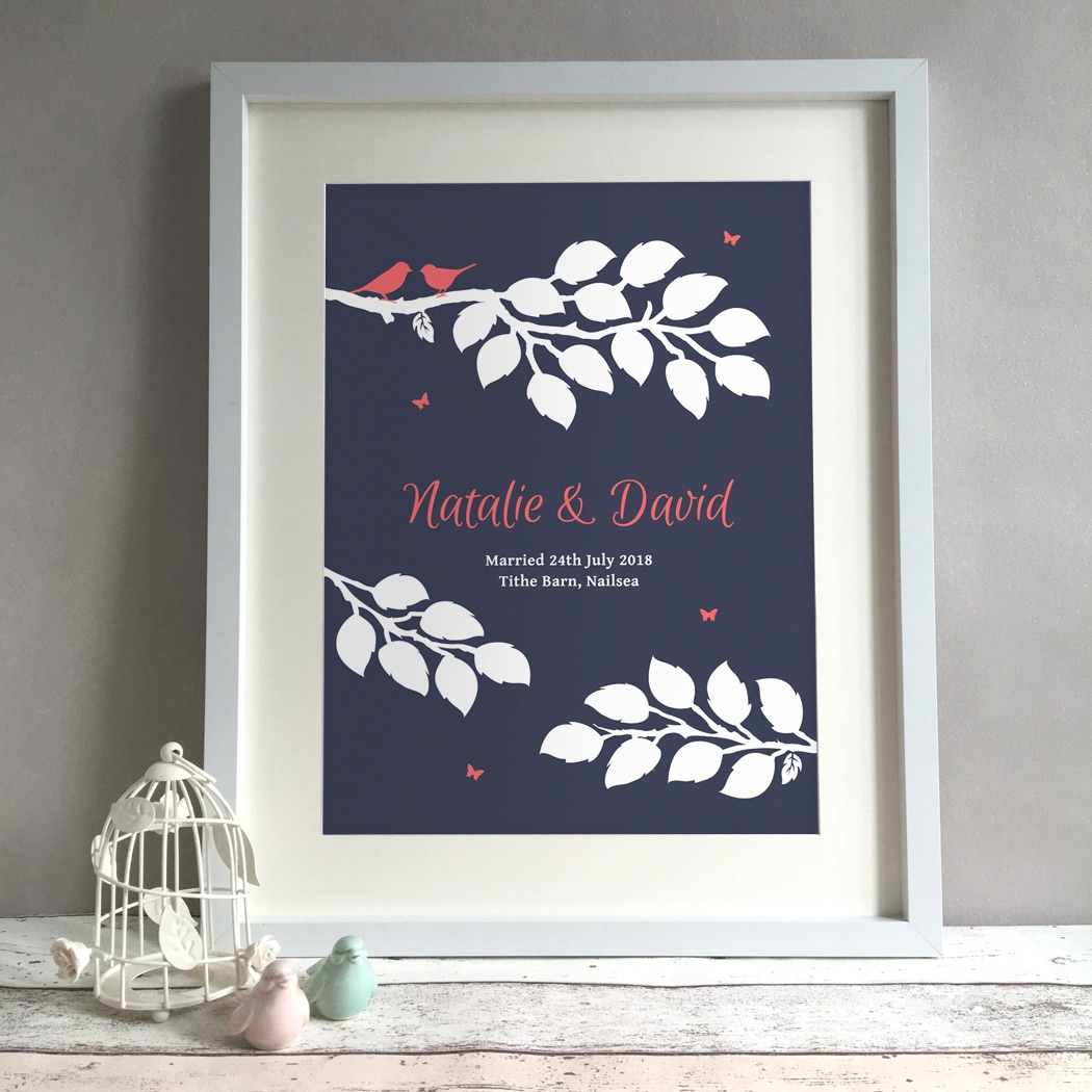 Bird Tree Personalised Wedding Gift Print