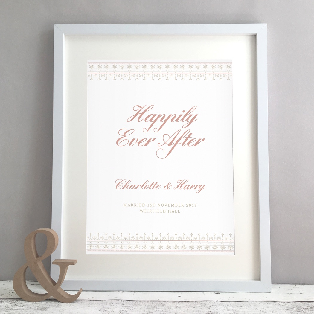 Elegant Lace Personalised Wedding Gift Print