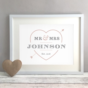 Love Heart Personalised Wedding Gift Print