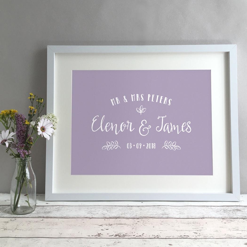 Leaves Personalised Wedding Gift Print