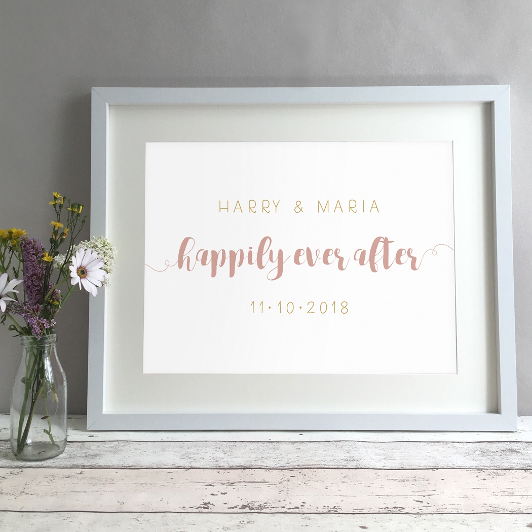 Happily Personalised Wedding Gift Print