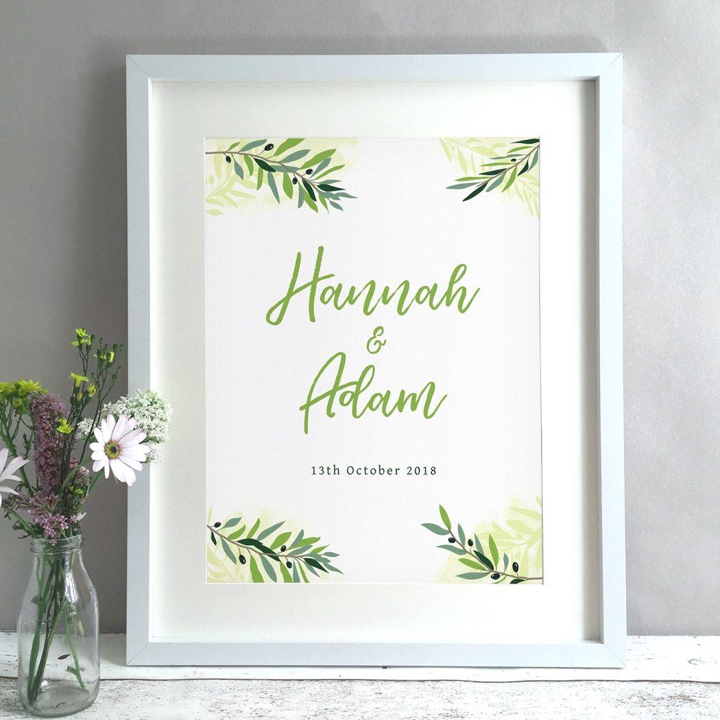 Greenery Personalised Wedding Gift Print