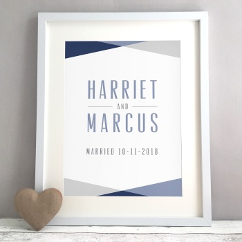 Geometric Triangles Personalised Wedding Gift Print