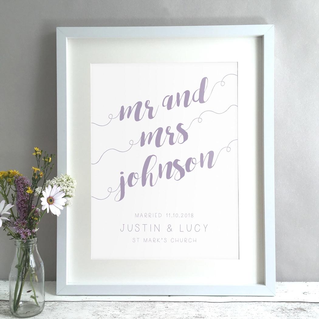 Calligraphy Personalised Wedding Gift Print