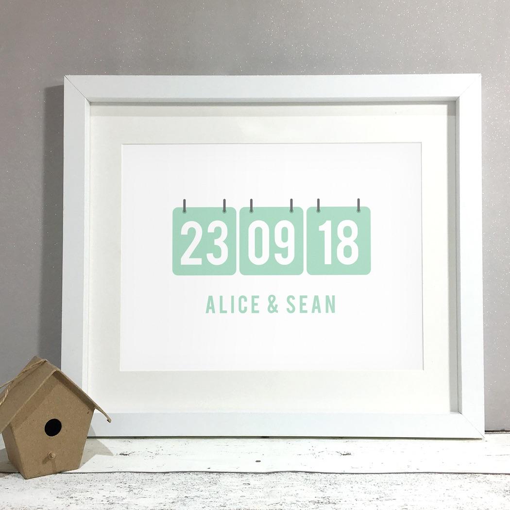 Calendar Personalised Wedding Gift Print