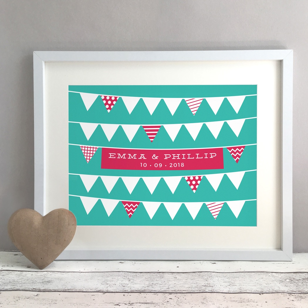 Bunting Personalised Wedding Gift Print