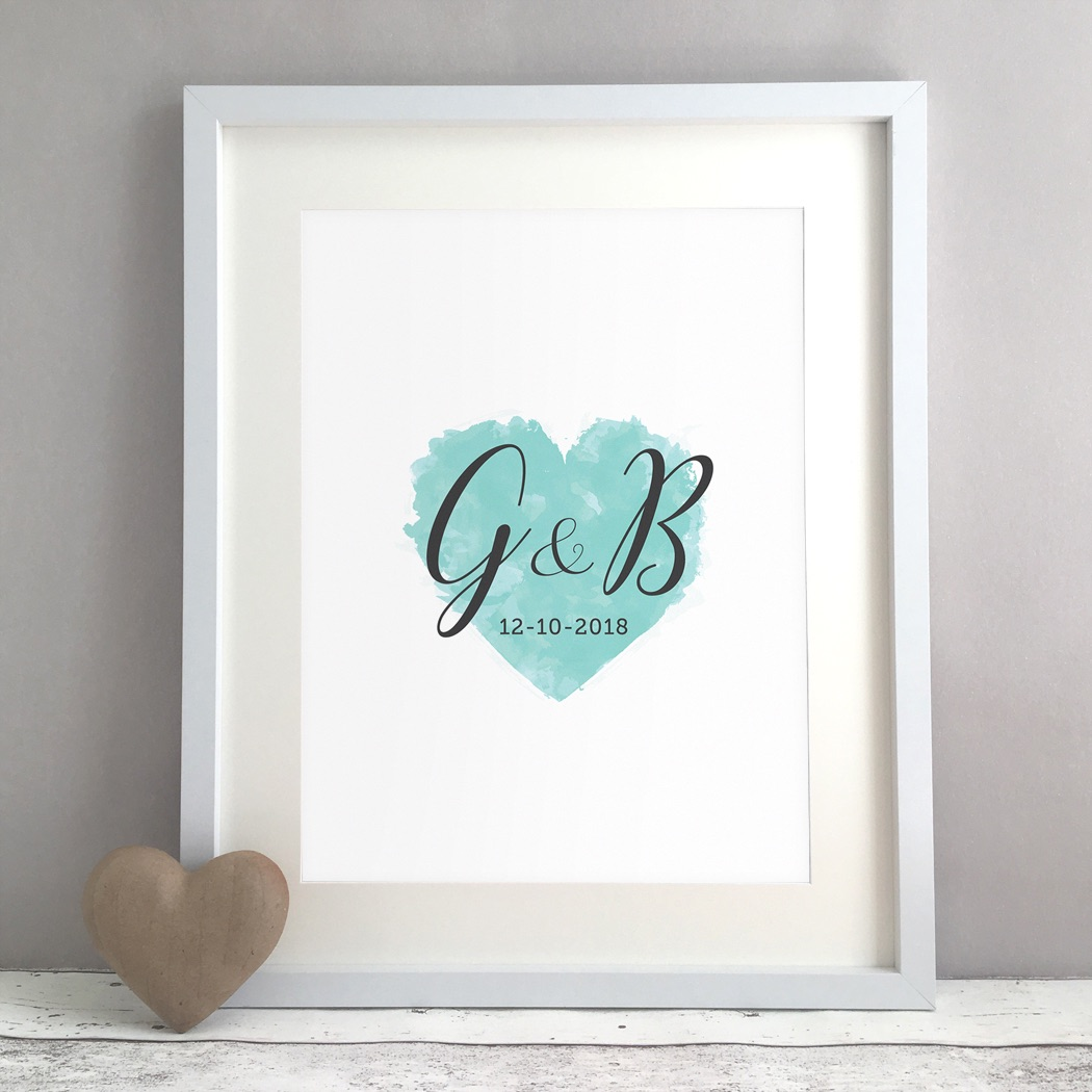 Watercolour Heart Personalised Wedding Gift Print