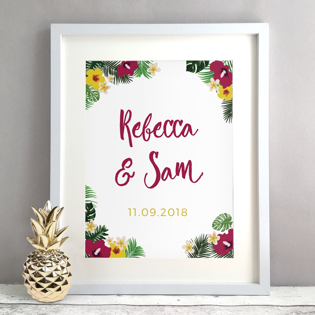 Tropical Personalised Wedding Gift Print