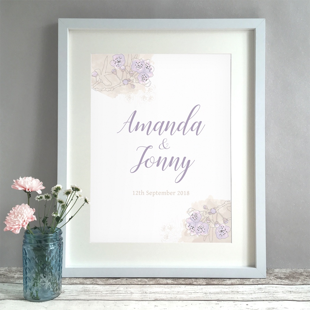 Watercolour Blossom Personalised Wedding Gift Print