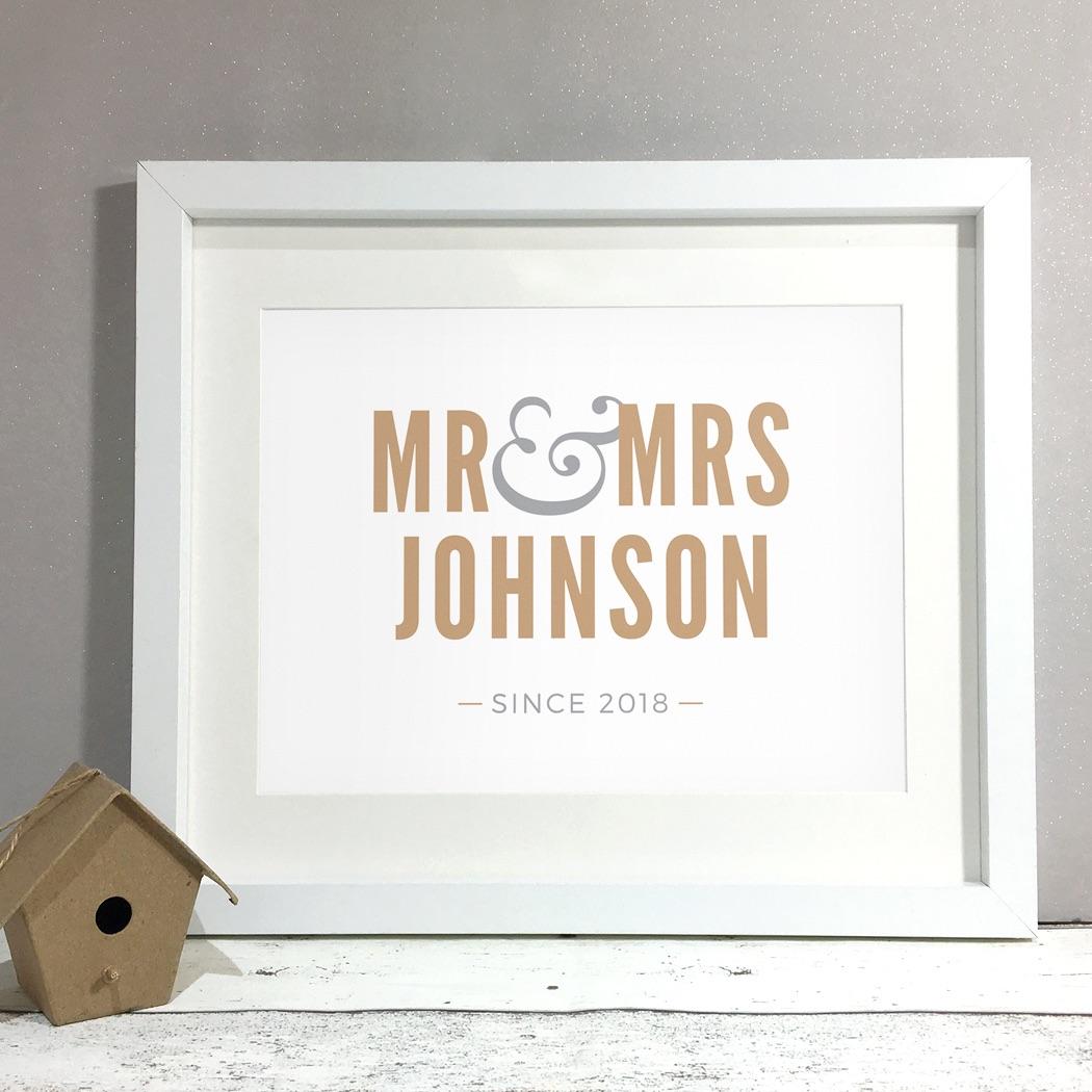 Modern Mr & Mrs Wedding Gift Print