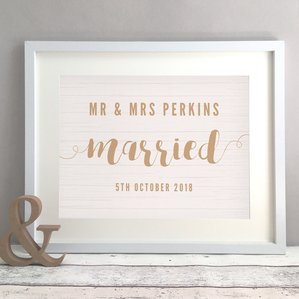 Rustic Wood Personalised Wedding Gift Print