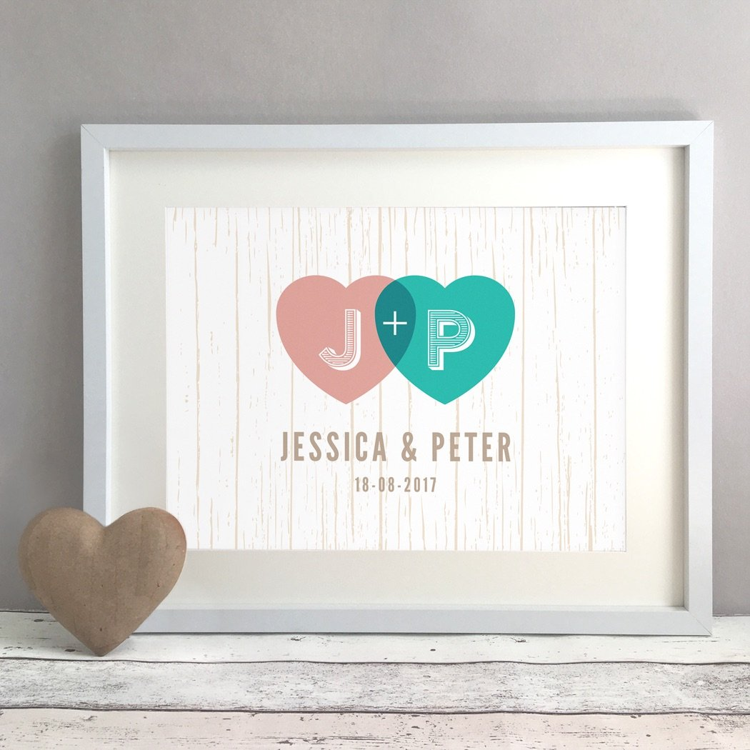 Rustic Hearts Personalised Wedding Gift Print