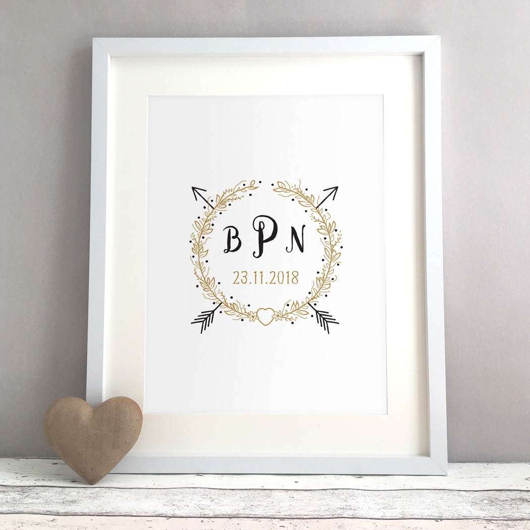 Rustic Monogram Personalised Wedding Gift Print