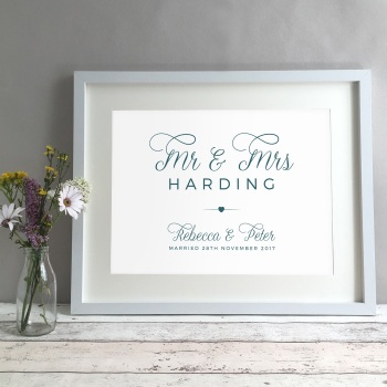 Simple Personalised Wedding Gift Print