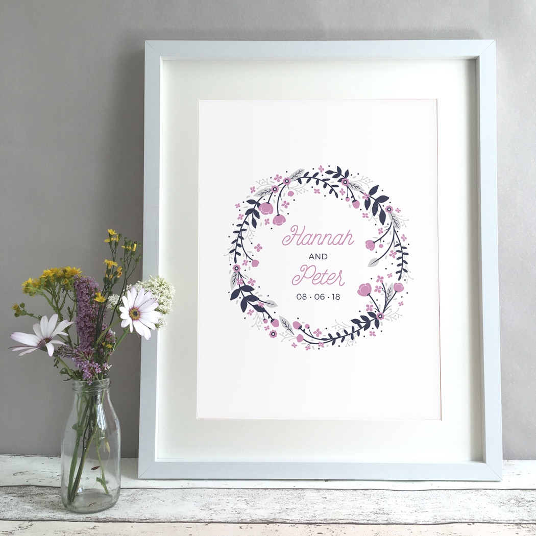 Floral Ring Personalised Wedding Gift Print