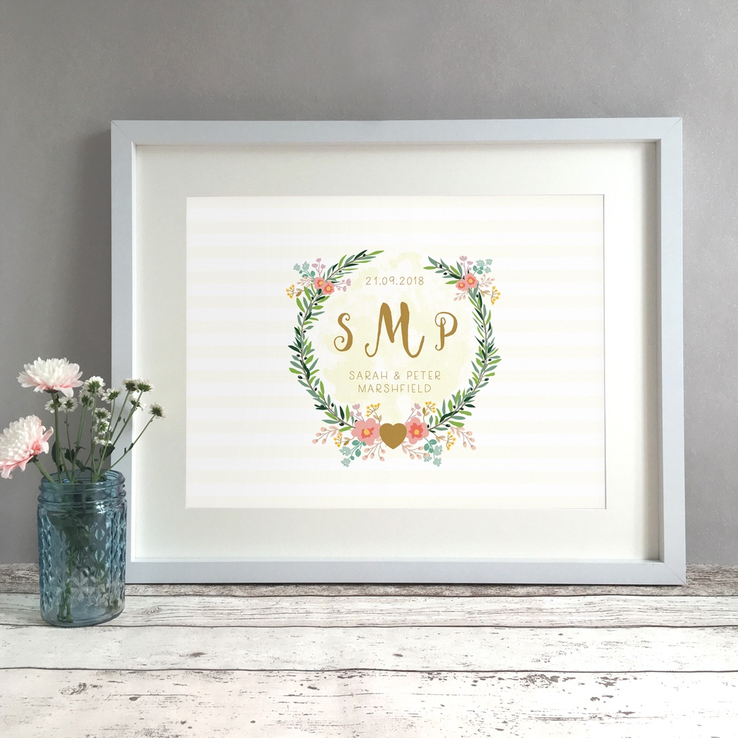 Floral Monogram Personalised Wedding Gift Print