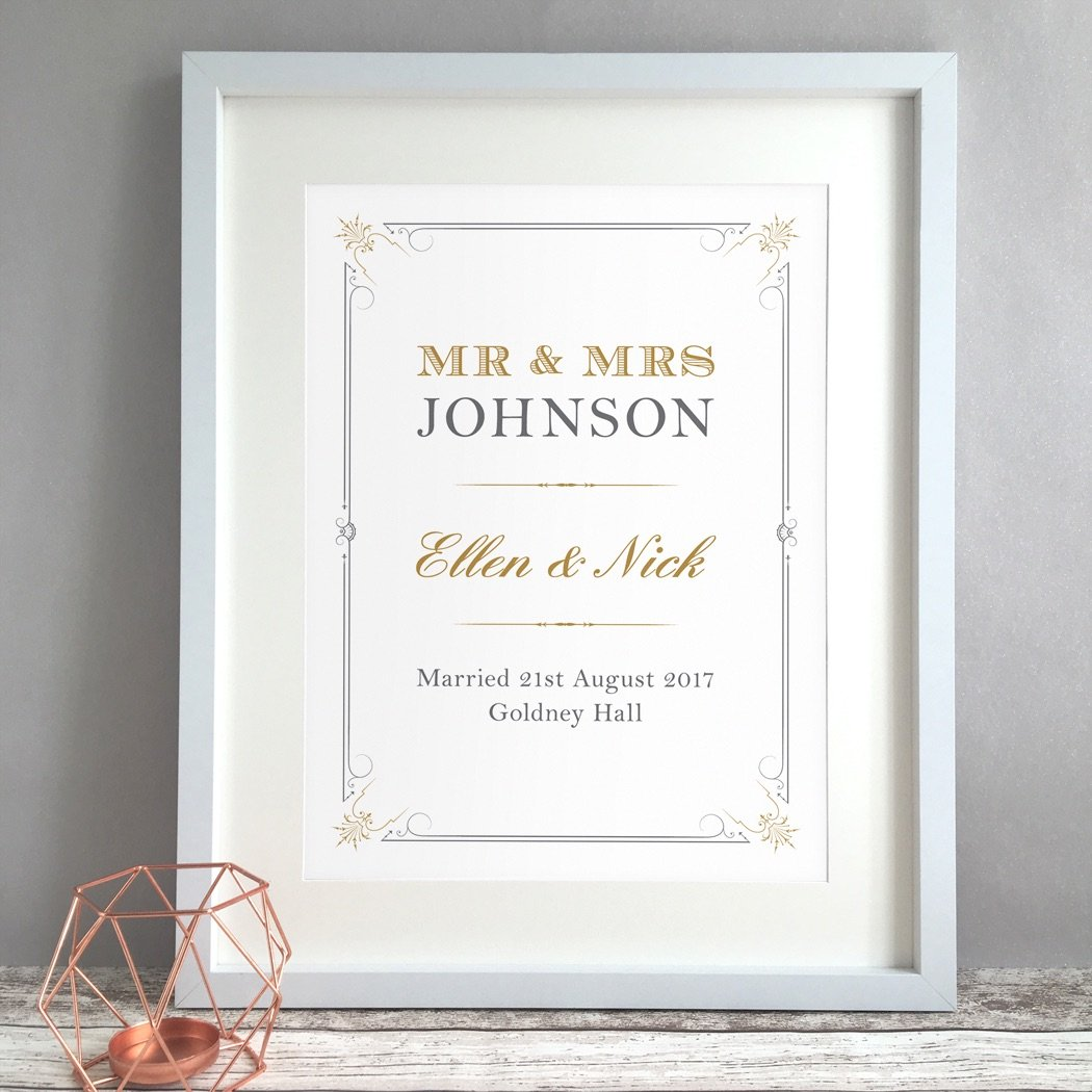 Elegant Victorian Personalised Wedding Gift Print
