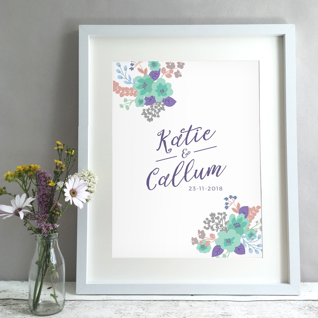 Floral Bouquet Personalised Wedding Gift Print