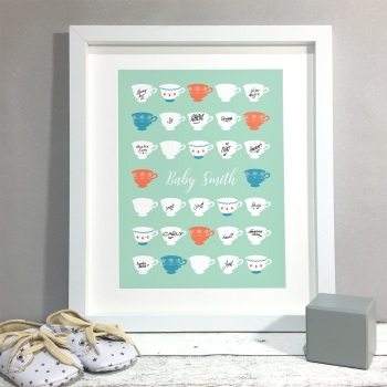 Tea Cups Personalised Baby Shower Guest Book Print Alternative