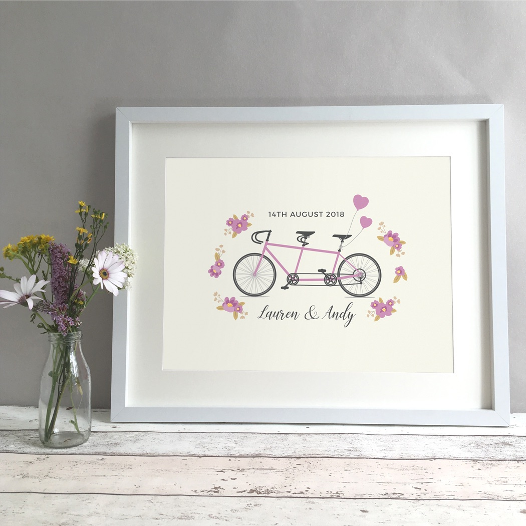 Tandem Bike Personalised Wedding Gift Print