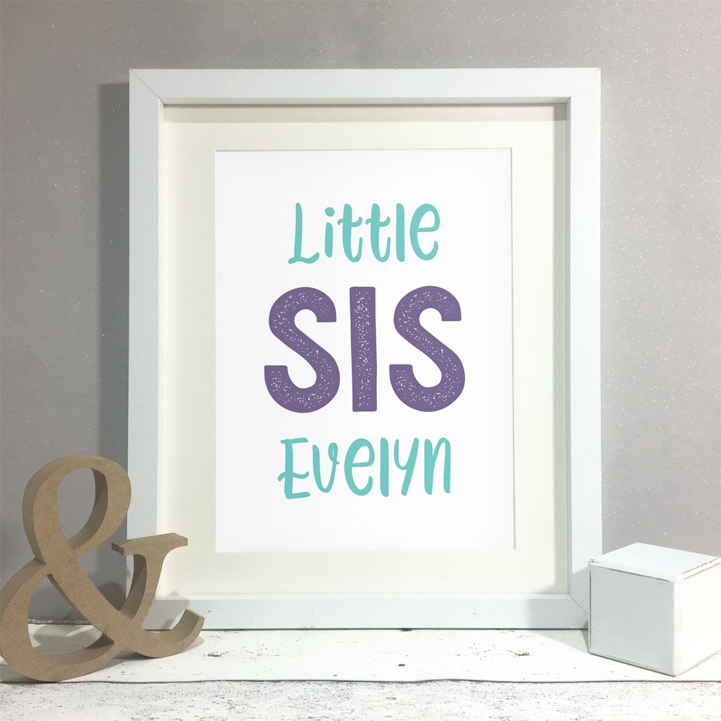Big/Little Sis Kids Room Personalised Name Print