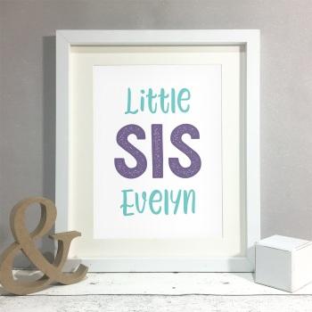 Big/Little Sis Kids Room Personalised Name Print