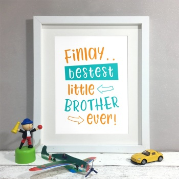 Bestest Brother Kids Room Personalised Name Print