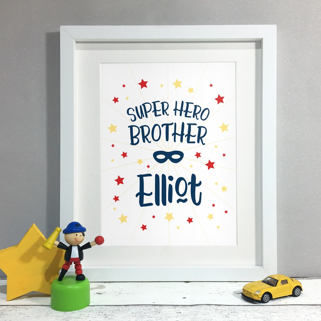 Superhero Brother Kids Room Personalised Name Print