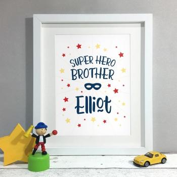 Superhero Brother Kids Room Personalised Name Print