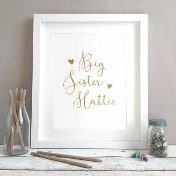 Sister Hearts Kids Room Personalised Name Print