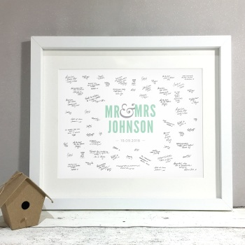 Modern Mr & Mrs Personalised Wedding Guest Book Print Alternative