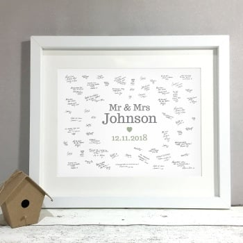 Classic Mr & Mrs Personalised Wedding Guest Book Print Alternative